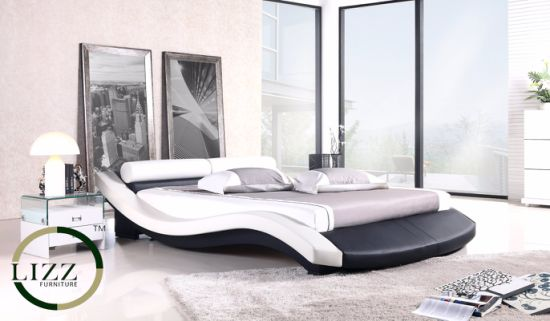 Modern Arabic Bedroom Furniture Leather Double Bed