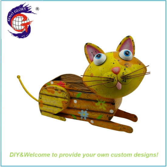 Animal Cat Custom Printed Metal Wood Color Color Ecology Flower Pot