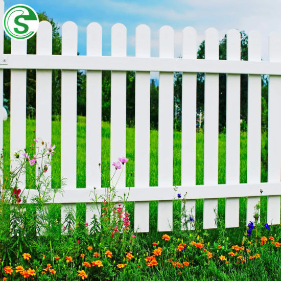 Customized White Vinyl Picket Garden Lawn Grass Used PVC Plastic Fence