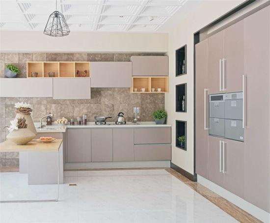 Light Grey Brown Gloss Kitchen Furniture China Modular Kitchen Cabinets Cabinet Made In China Com