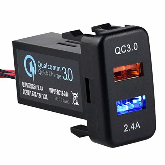 Dual USB Port Charger Socket Quick Charge 3.0 & 2.4A for Toyota pictures & photos