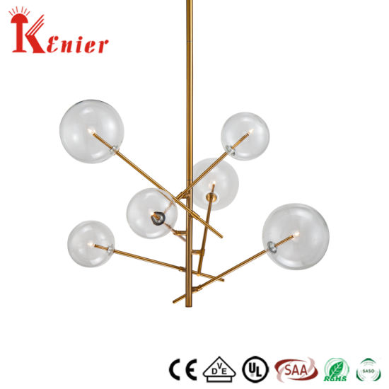 High Quality Restaurant Decorative Single Brass Metal Clear Glass Ball Ceiling Light Modern Pendant Lamp