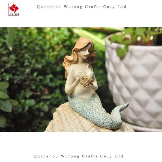 Wholesale Custom Resin Crafts Shell Mermaid Home Garden Decor Pot