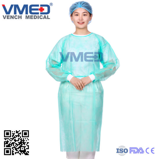 Hot Sale SMS Surgical Gown with Knitted Cuffs Protective Gown, Nonwoven Gown, Isolation Gown, 2019 Hot Sale Dispossable Non-Woven SMS Surgical Gown pictures & photos