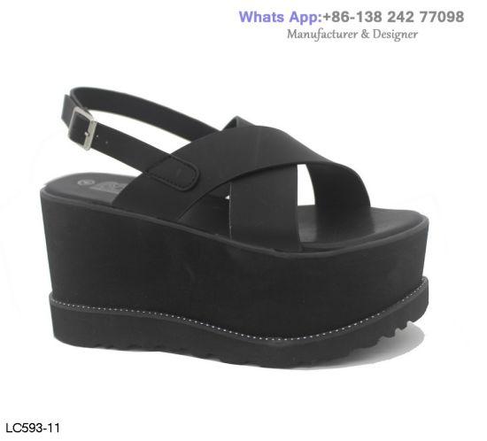 9101619021 China Womens Soft Fashion Flatform Lady Comfy Wedge Platform Sandals ...