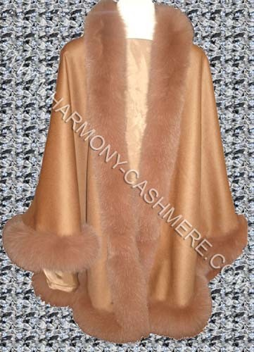 Cashmere Cape With Blue Fox Fur (HM-CAF09001)