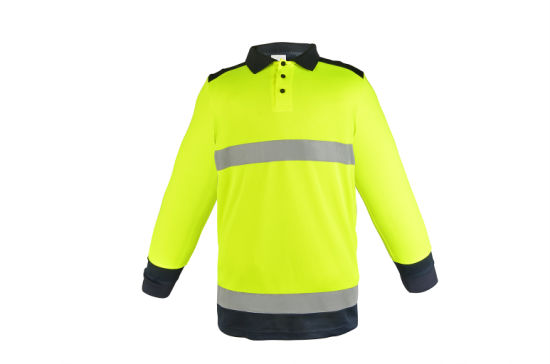 High Visibility New Style Cheap Elastic Traffic Construction Long Sleeve with Black Bottom Reflective Safety Polo T-Shirt