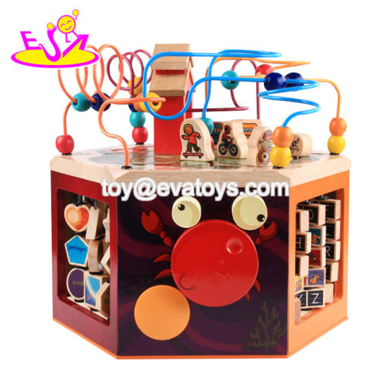 China New Design Six Sided Large Educational Wooden Activity Cube