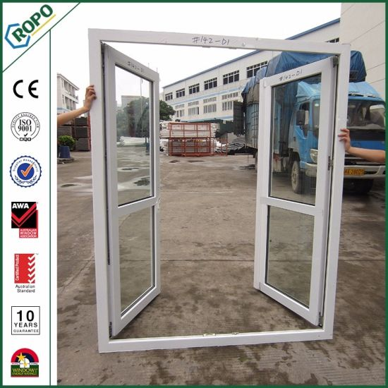 China Exterior Front Glass Double Door Design Upvc French Door