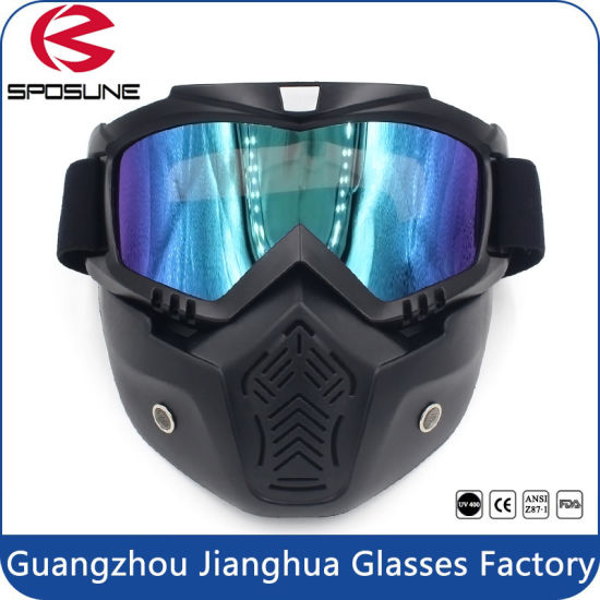 Black Full Face Mask Adult Motorcycle off-Road Dirt Bike Safety Goggles