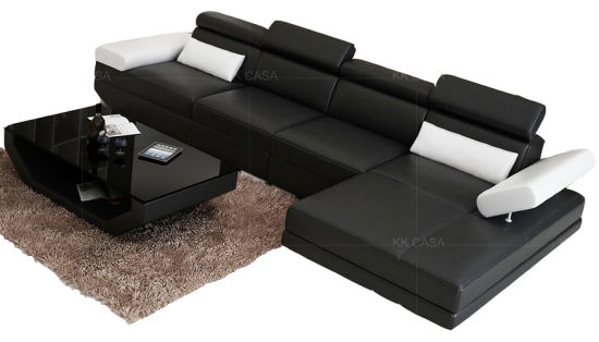 Design American Modern L Shape Sofa Italian Leather Sofa Small Furniture