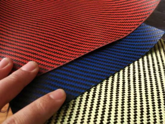 Carbon fabric Red and Black 3K 2x2 Twill Weave