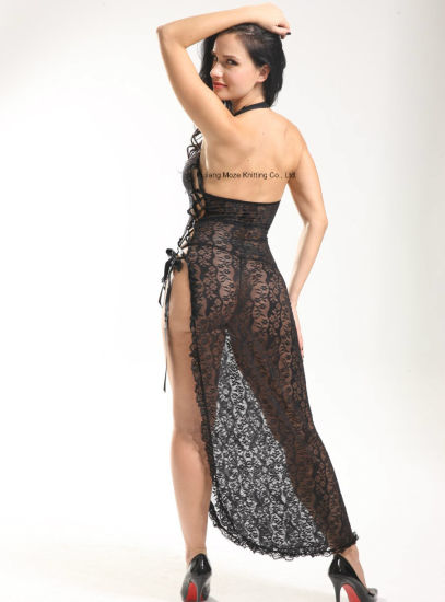 Ladies Halter Neck Sexy Long Lace Robe pictures & photos
