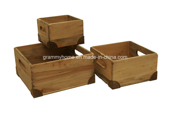 Etonnant Natural Pine Wood Decorative Crates Boxes With Handle And Metal Corner