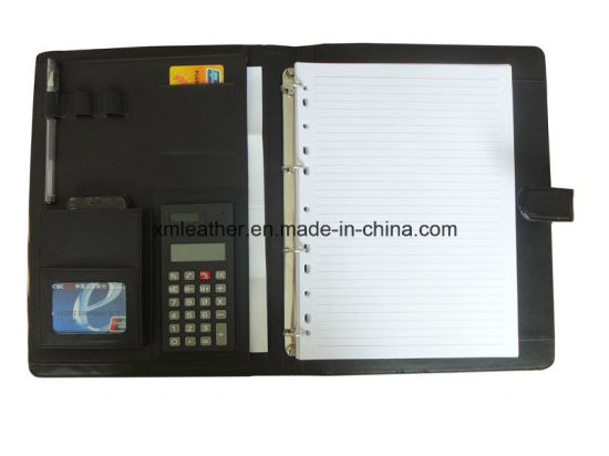 Fastener Closure PU Leather Ring Binder File Padfolio with Calculator pictures & photos