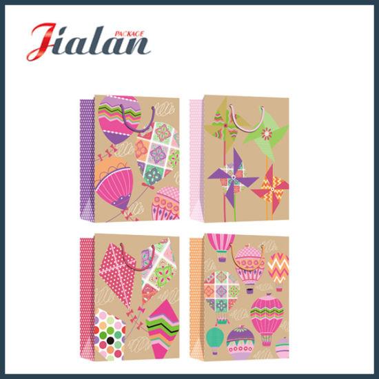 4c Colorful Printed Brown Kraft Paper Shopping Gift Paper Bag