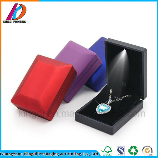 China Custom Rubber Paint Coating LED Velvet Necklace Pendant Ring