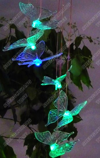 Solar Wind Chime Light With Color Changing Led Erflys
