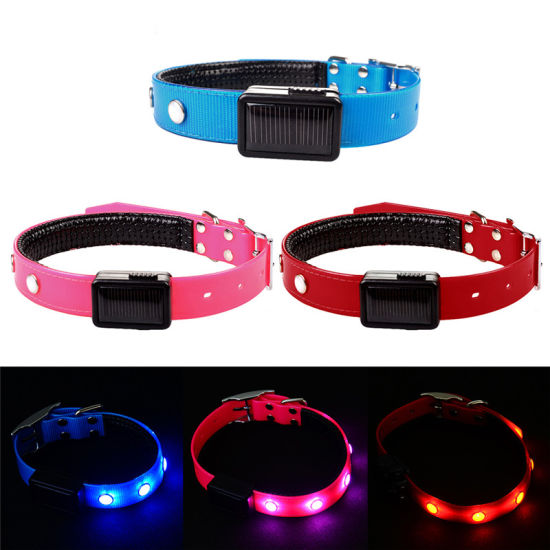LED Solar Flashing Lights Dog Collar Safety Adjustable Rhinstone Pet Collar Strap pictures & photos