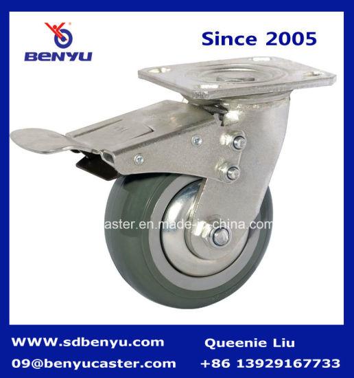 Heavy Duty Arcuate Caster High Elastic TPR Wheel Double Brake