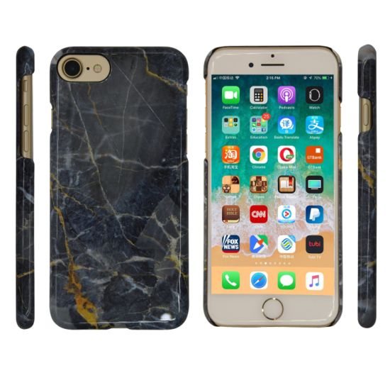 Black Marble-Textured Mobile/Cell Phone Case for iPhone (6/7/8/6s/8s/X Plus/Xs Max/Xr/Xs/8plus)
