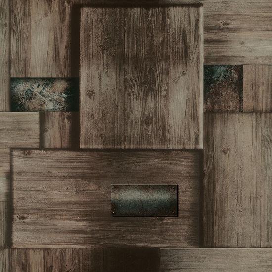 American Retro Living Room Bedroom Wood Grain wall paper Wallpaper
