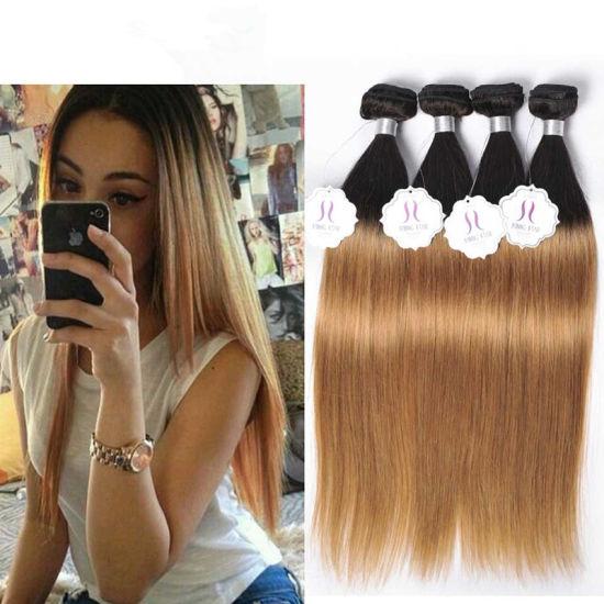 Cheap 1b 4 27 30 Ombre Brazilian Virgin Straight Hair 3 Bundles Short Ombre  Blonde Bob Human Hair Weave 2 3 Tone Hair Extensions 6b86b2f36
