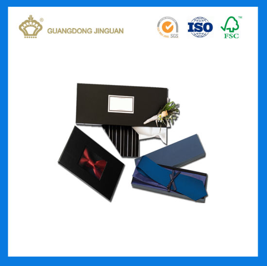 Custom Logo Printed New Design Luxury Bow Tie Gift Packaging Box (with window) pictures & photos