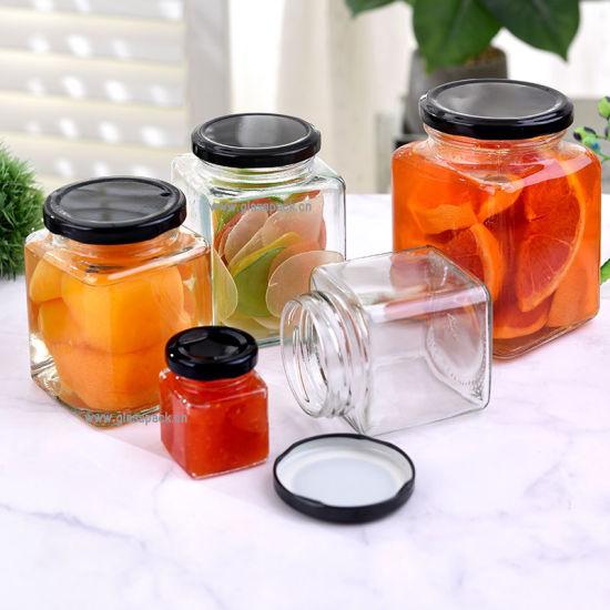 300ml Square Glass Jar Fitting Lug Cap for Food Packagings