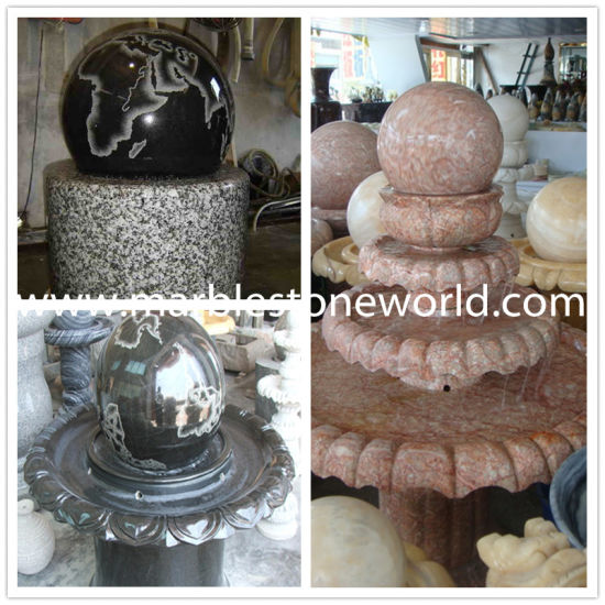 China Stone Carved GraniteMarble Fountain Polished Ball Fountain Cool Stone Ball Garden Decoration