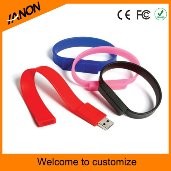 Mixed Color Wholesale Bracelet USB Flash Drive with Your Logo pictures & photos