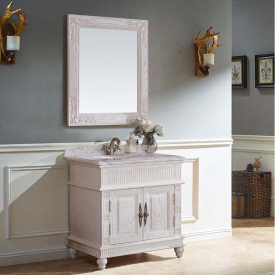 White Paint Solid Wood Waterproof Bathroom Vanity Cabinet Gsp14 007 Pictures Photos