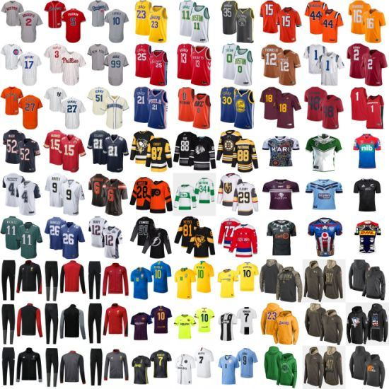 Wholesale Football Baseball Hockey Basketball Rugby Soccer College Hoodies Jerseys