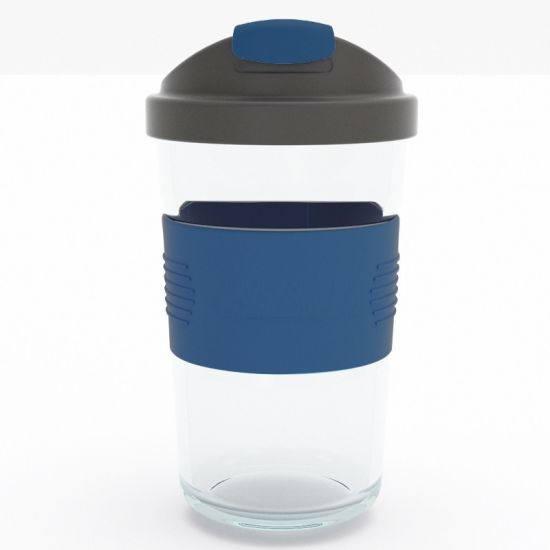 12oz Glass Travel Coffee Mug/Coffee Cup/ Double Wall Glass Cup/Reusable Cup with Silicone Lid and Sleeve