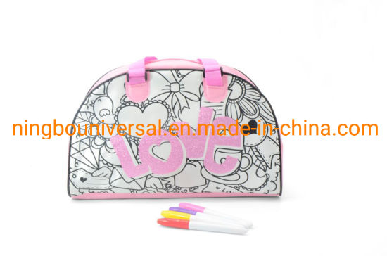 Whole Sale Cheap Price Pink Lovely Girl Toy Kids DIY Coloring Bag