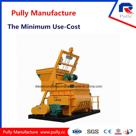 Pully Js750 Twin-Shaft Concrete Mixer pictures & photos