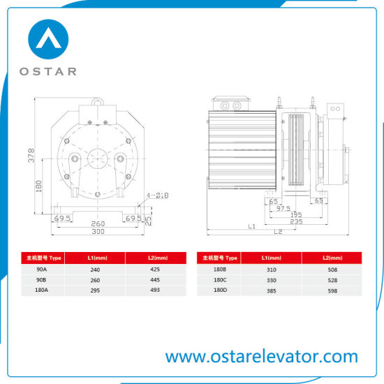 2: 1, 1: 1 Gearless Traction Machine for Small Loading Passenger Elevator (OS113-260 Series) pictures & photos