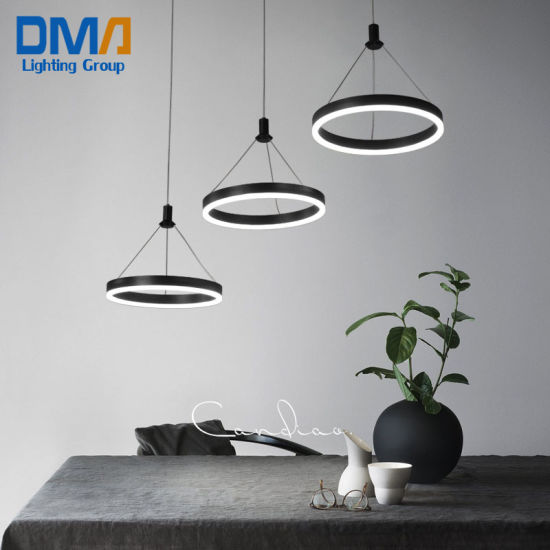 3 Heads Rings Aluminium Acrylic Hanging Pendant Lamp LED