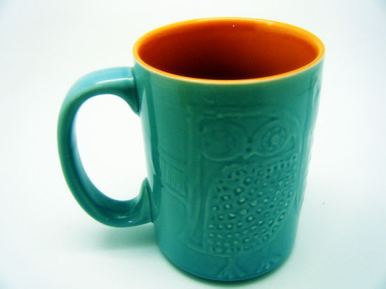 White Porcelain Embossed Mug Coffee Mug