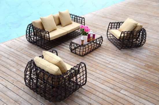 Simple Modern Foldable Outdoor Garden Sofa Set with Round Rattan