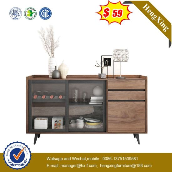 Modern Walnut Storage Cabinet Wooden Living Room Furniture Coffee Table