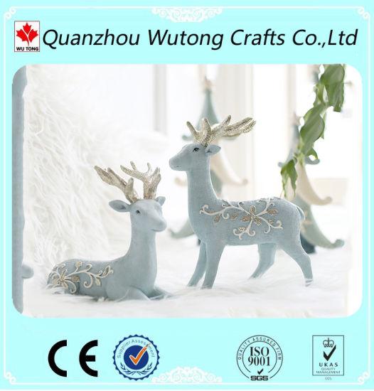 Christmas Home Decoration Wholesale Crafts Sculpture Resin Deer Figurines