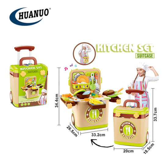 Children Plastic Food Toys Electric Suitcase Kitchen Set with Music pictures & photos