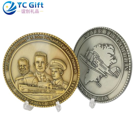 Professional Custom 3D Zinc Alloy Die Casting Metal Art Crafts Badge Old Gold Silver Bronze Sculpture Blank Personalized Military Navy Souvenir Challenge Coins