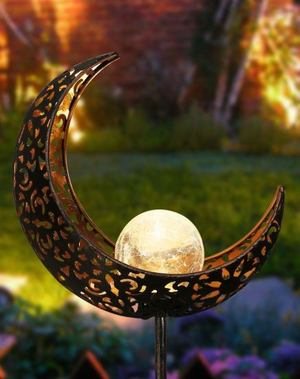 Waterproof Outdoor Moon Crackle Glass Globe Metal Solar Light Stake pictures & photos