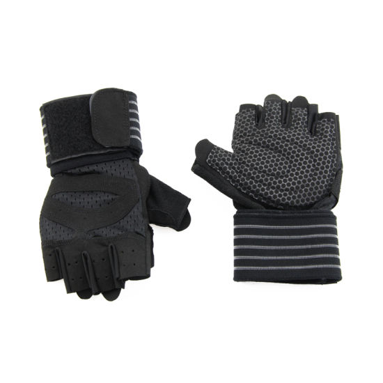 Wholesale Anti-Slip Silica Gel Grip Padded Weight Lifting Fitness Gloves Gym Gloves Breathable Customized Fitness Bike Exercise