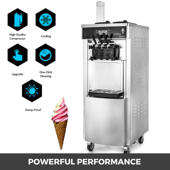 3 Flavor 20-30L/H 2200W Commercial Soft Serve Ice Cream Freezer Machine