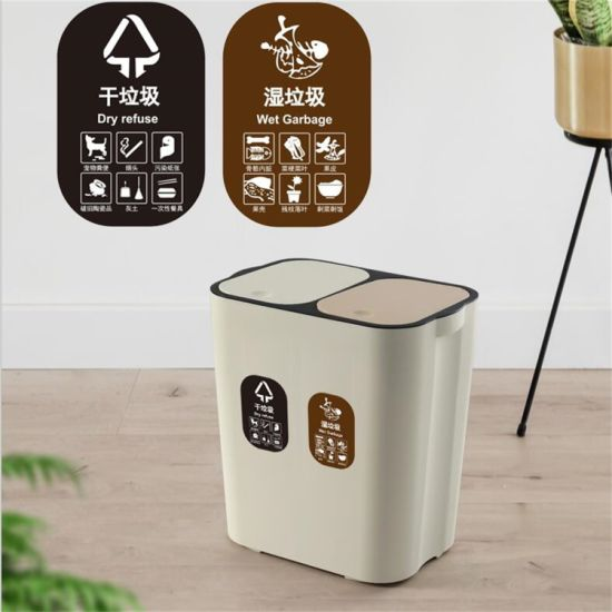 Plastic Trash Can with Garbage Classification