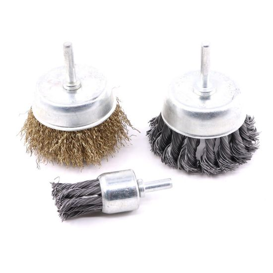 """1/"""" Crimped Wire End Brush Carbon Steel with 1//4/"""" Shank for Die Grinder or Drill"""