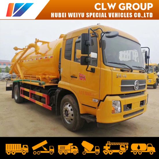 Dongfeng/HOWO/Isuzu 12m3/15m3 High Pressure Jetting Sewage Suction Tanker Truck for Sewer Cleaning